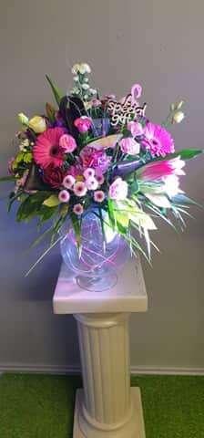 Fresh Flower Arrangement in Brandy Glass